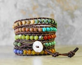 Colorful Gemstone beaded leather wrap bracelet bohemian jewelry