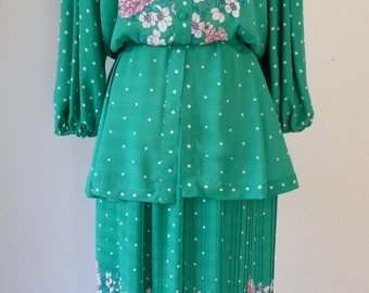 80's Diane Freis 2 Piece Peplum Blouse and Skirt Gypsy Boho Floral Print Dress M L