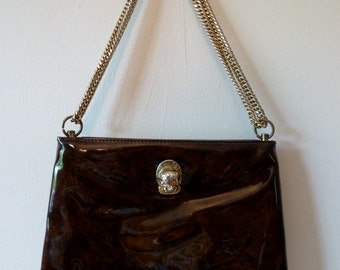 70's Ruth Saltz Purse Lion Knocker Shoulder Bag Glossy Patent Leather Golden Chain Hinge Closure