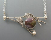 Branch necklace - twig necklace - sterling silver agate necklace - branch jewelry - botanical jewelry -elven nature jewelry - twig jewelry