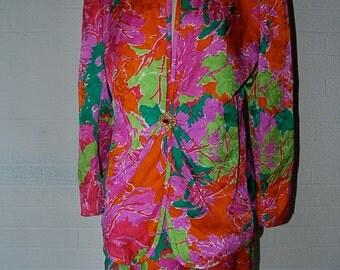 CLASSIC Vintage David Hayes for Nieman Marcus Floral Jacquard 100% Silk Skirt Suit Set 14