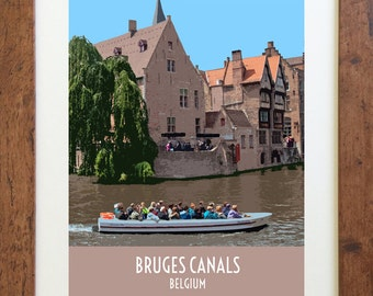 Bruges Canals Belgium Travel Poster – Vintage Style, Digital Download – 11 x 14 or 8 x 10