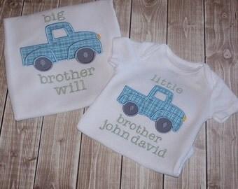 Big Brother Sibling Shirt, Matching Sibling Shirts Big Brother, Middle Brother, Little Brother Truck Sibling Shirt, Promoted to Big Brother