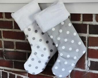SALE Christmas Stocking Storm Gray Grey White Polka Dots no.426 no.336