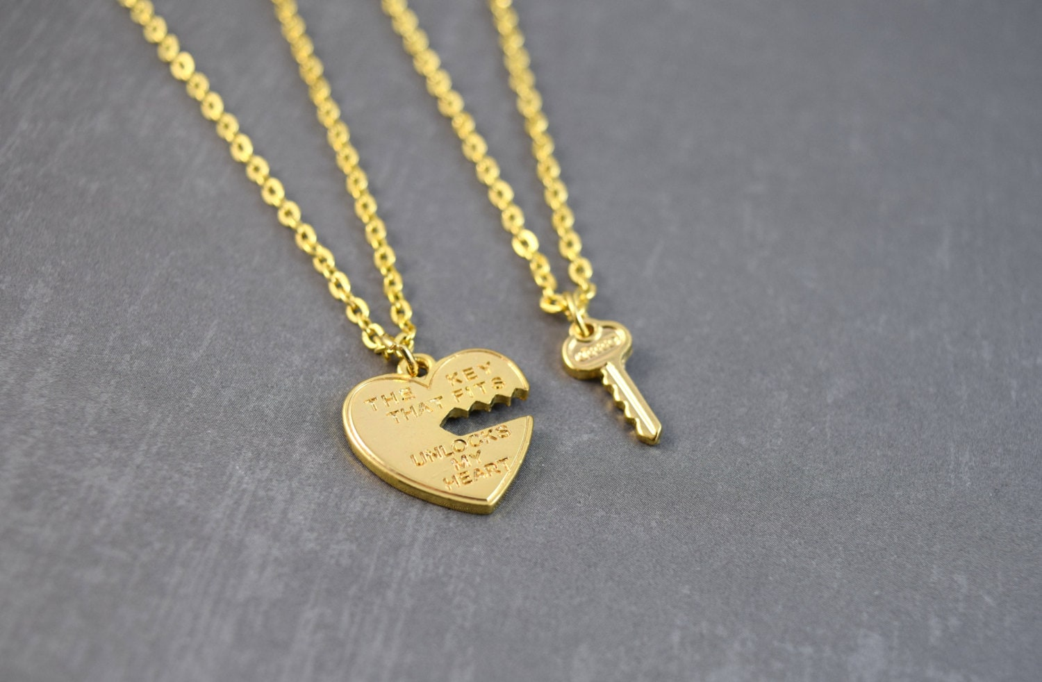 Key To My Heart Couple Necklace Gold Key Pendant Anniversary