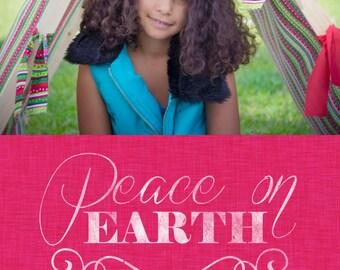 Peace on Earth Linen Digital Christmas Card Template 5x7