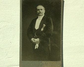 Antique German Cabinet Photograph of Gentleman with Waxed Mustache in Suit & Tails, Pocket Watch, Gloves; photo by E. Tiedemann, Hannover