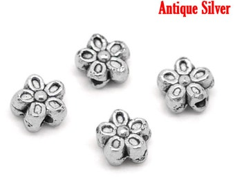 Silver Flower Beads - Antique - 7mm - 10pcs - Ships IMMEDIATELY from California - B1070