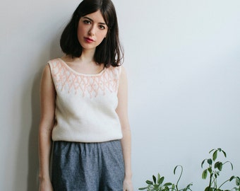 60s Beaded Wool Sweater | Pink and Cream