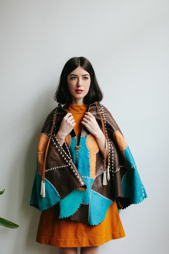 60s Boho Leather Patchwork Cape