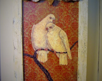 Bird Painting White Dove Print Vintage Home Decor Shabby White Original Art Framed Dove Painting Repurposed Architecural Salvage