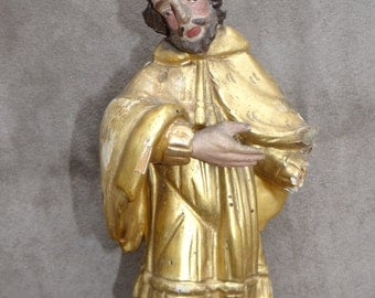 1800's Gilded Santos,  Polychrome Carved Religious Saint