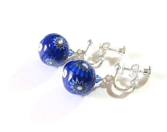 Cobalt Blue Millefiori Earrings, Venetian Glass Earrings, Clip-ons, Sterling Silver Leverbacks, Murano Glass Jewelry, Gift For Her