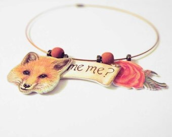 Rose and Fox necklace inspired by the story of a little prince. Original drawings of a Fox, Rose & the words 'Tame Me' on a unique necklace