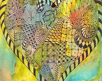 "Zentangle Inspired Heart # 8 on canvas board, 10"" x 8""   Fun, Contemporary, Original  Painting by ebsq Artist  Ricky Martin. FREE SHIPPING"