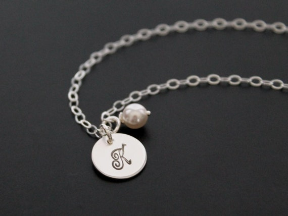 """Sterling Silver Charm Pendant 1 Disc 1/2"""" MONOGRAM Layer Hand Stamped INITIAL Letters Love Mom Family Kids Names Necklace"""