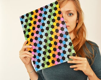 Rainbow of hexagons - optical abstract contemporary art