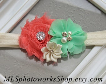 Coral, Mint & Ivory Baby Girl Headband - Hair Bow in Coral Pink and Mint Green for Babies, Toddlers, and Little Girls - Easter Headbands