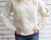 vintage aran sweater fisherman sweater -70s