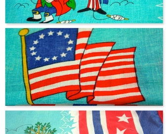 Vintage RARE Twin Mr Magoo President Patriotic Theme Bedspread Election Party Tablecloth American Flag Turquoise Red White Blue Collectible