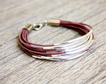 Desert Rose Mauve Leather Bracelet with Gold or Silver Tube Accents (13 bangles)