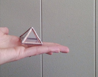Pyramid Display Box - mini glass pyramid - jewelry box - hinged - silver or copper - eco friendly