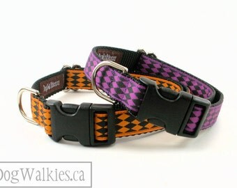 "SALE Orange or Purple Harlequin Halloween Dog Collar - 3/4"" (19mm) Wide - Choice of color, style and size - Martingale or Side Release"
