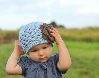 baby girl hat, baby hat, crochet baby hat, kids hat, crochet kids hat, newborn girl hat, hat with flower, blue hat