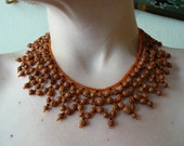 Vintage Artisan Crafted Collar Bib Style Clay Bead Statement Necklace- Terracotta Ethnic Tribal Funky Orange Rust Red Black Earthy