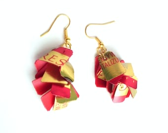 SALE Red gold earrings made of recycled plastic upcycled earrings repurposed jewelry geometric earrings eco friendly jewelry red earrings