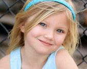 Turquoise Headband - Blue Headband - Ribbon Woven Headband - Turquoise - Hard Headband - Child Toddler Headband - Teenager Adult Headband