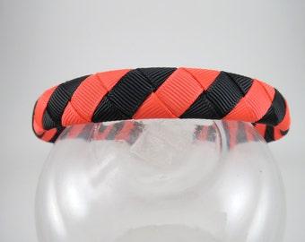 Neon Orange and Black Sriped Headband - Orange Headband - Black Headband Headband - Halloween Headband - Ribbon Woven Headband - Headband