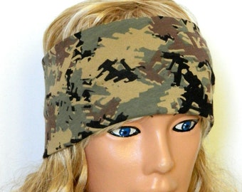 Stretch Head band military patterned - Turban Wide  Soldier Women Headband head bands Hair Coverings - soldier Headband