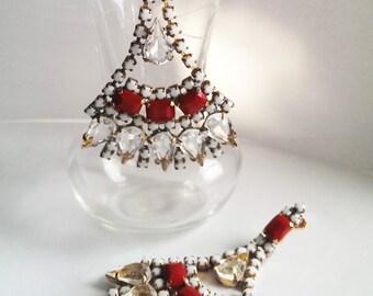 Vintage Czech Rhinestone Statement Earrings