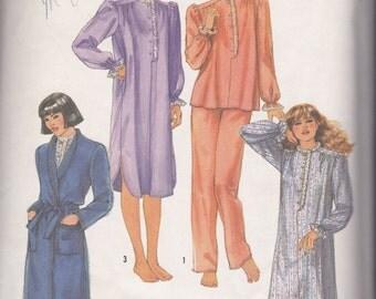 80s Nightgown, Pajamas & Robe Pattern Simplicity 6625 Size Small Uncut