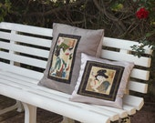Japanese Geisha Pillows - Silk Woodblock Print Geisha with Fan and Habits of a Waitress Cushion Covers - One-of-a-Kind by Yoshitoshi.