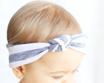Baby White & Blue Lined Turban Headband, Top Knot Turban, Baby White Headband, Baby Hair Accessory, Baby Turbans, Baby 4th of July Turban