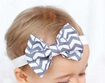 Baby Gray Herringbone Bow Headband, White Baby Headband, Gray Baby Headband, Trendy Baby Headband, Blush By Taylor, Modern Baby Accessories
