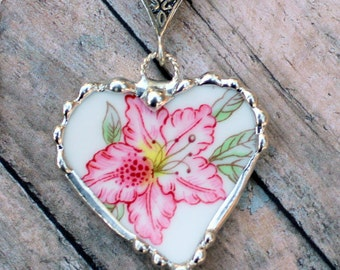 Necklace, Broken China Jewelry, Broken China Necklace, Heart Pendant, Azalea Flower China, Sterling Silver, Soldered Jewelry