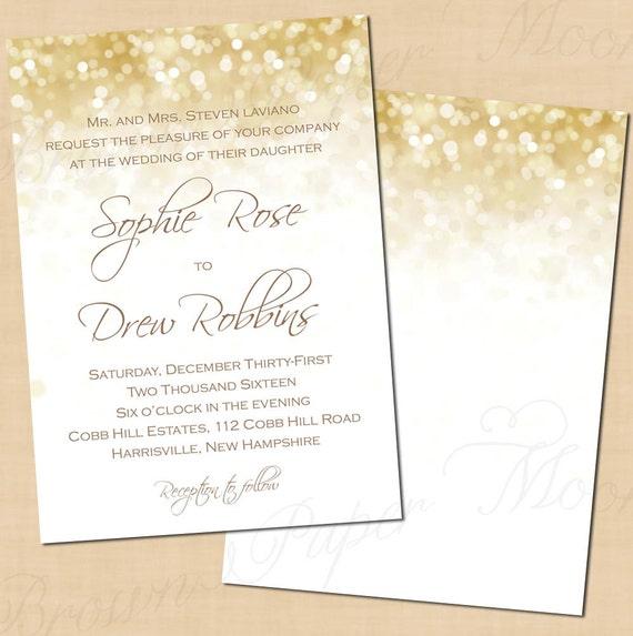 Superieur White Gold Sparkles Wedding Invitations (5x7, Portrait): Text Editable,  Printable, Instant Download
