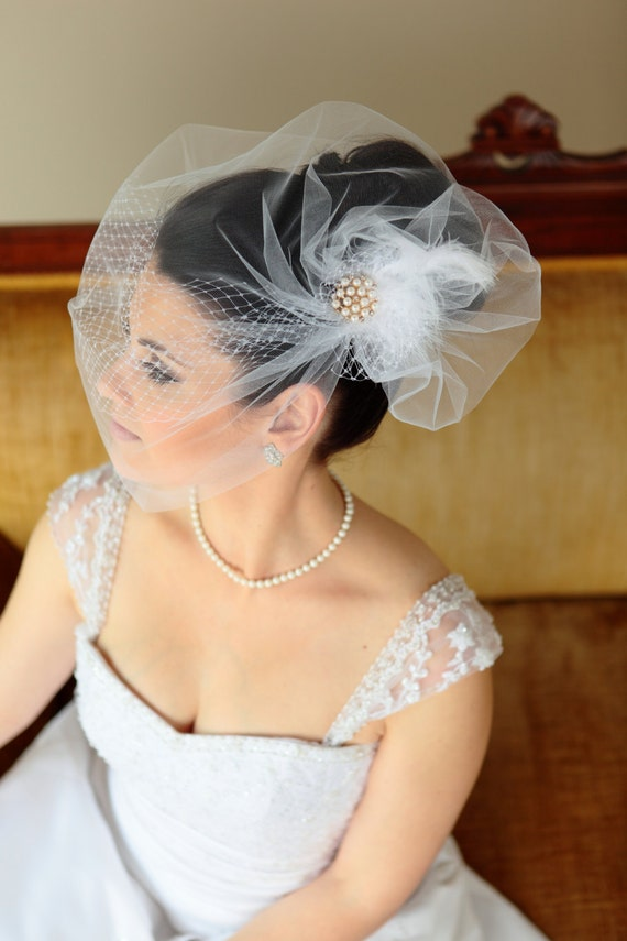 Birdcage bridal veil and tulle over Russian netting