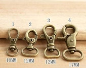10Pcs 10mm,12mm,17mm, Antique Brass Smaller Swivel Lobster Clasps - For Craft Bag Purse T116
