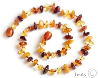 Baltic Amber Baby Teething Necklace, Multicolor Free Form Amber Beads
