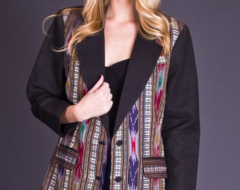 SALE 50% OFF 80s Vintage Southwestern Boyfriend Blazer in Black
