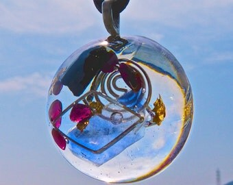 FUSION Orgone Dome Pendant with BINGHAM FLUORITE, Black Tourmaline, Garnet. Frequency-Charged Protection.