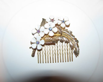 Vintage Flower Garden Ooak Recycled Costume Jewelry Victorian Gold Tone Hair Comb