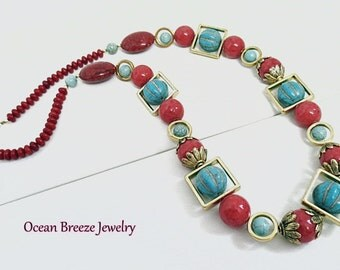 Large Chunky South Western Statement Necklace with Turquoise, Red and Gold Colored Beads