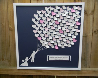 Large size wedding guest book alternative 3D paper hearts