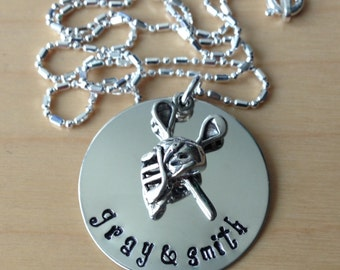 Lacrosse Sterling Silver Hand Stamped Personalized Necklace