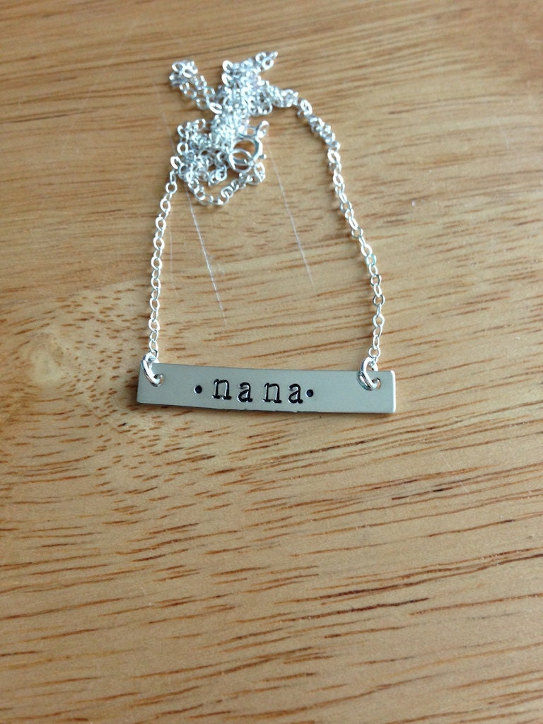 Hand Stamped, Personalized Sterling Silver Bar Necklace